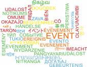 Event multilanguage wordcloud background concept — Stock Photo