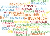 Finance multilanguage wordcloud background concept — Stock Photo