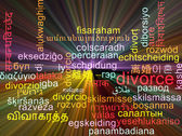 Divorce multilanguage wordcloud background concept glowing — Stock Photo