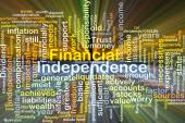 Financial independence background concept glowing — Stock Photo