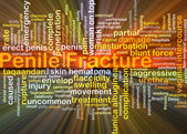 Penile fracture background concept glowing — Stock Photo