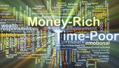 Money-rich time-poor background concept glowing — Stock Photo