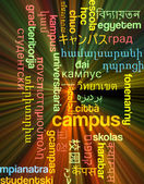 Campus multilanguage wordcloud background concept glowing — Stock Photo