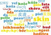 Skin multilanguage wordcloud background concept — Stock Photo