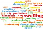 Swelling multilanguage wordcloud background concept — Stock Photo
