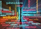 Wellbeing multilanguage wordcloud background concept glowing — Stock Photo