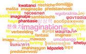 Imigination multilanguage wordcloud background concept — Stock Photo