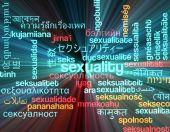 Sexuality multilanguage wordcloud background concept glowing — Stock Photo