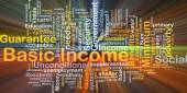 Basic income background concept glowing — Stock Photo