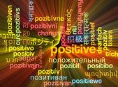 Positive multilanguage wordcloud background concept glowing — Stock Photo