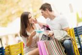 Couple In The Break After Shopping — Stock Photo