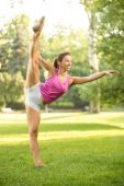 Stretching Exercises In The Park — Stock Photo