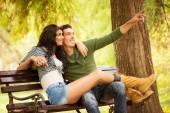 Romance On A Park Bench — Stock Photo
