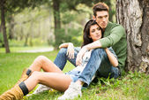 Handsome Couple In The Park — Stock Photo