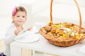 Cute Little Girl With Pastry — Stock Photo