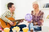 Seduction With A Guitar — Stock Photo