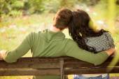 Dating On A Park Bench — Stock Photo