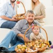 Happy Family With Baked Delicacy — Stock Photo #59749677