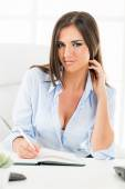 Sexy Businesswoman With Cleavage — Stock fotografie