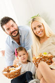 Happy Family With Baked Products — Stock Photo