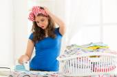 Young Housewife Ironing The Laundry — Stock Photo