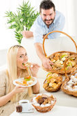 Couple Eating Baked Products — Stock Photo