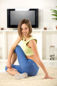 Stretching At Home — Stock Photo