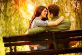 Kisses On A Park Bench — Stock Photo