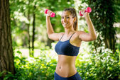 Exercising In The Park — Stock Photo