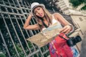 Lost Woman Tourist — Stock Photo