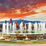 Fountain of Montjuic and Plaza de Espania. Barcelona — Stock Photo #55696805