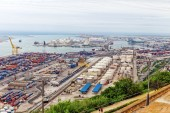 Seaport from Montjuic castle — Stock Photo