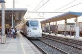 Train arriving  to Railways — Stock Photo
