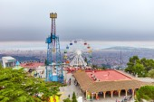 Amusement park on top Tibidabo — Stock Photo
