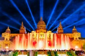 National Palace and Montjuic Fountain — Stock Photo