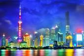 Skyline night  view on Pudong New Area, Shanghai. — Stock Photo