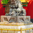 Bronze lion at the entrance to beautiful Yonghegong Lama Temple. — Stock Photo #76619961