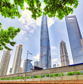 Skyscrapers, city building of Pudong, Shanghai, China. — Stock Photo
