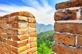 Close-Up Great Wall of China, section Mitianyu — Stock Photo