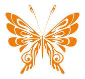 Orange Tribal Butterfly — Vector de stock