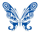 Blue Tribal Butterfly — Stockvector