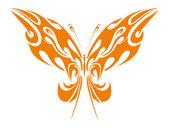 Orange Tribal Butterfly — Stock Vector