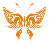 Orange Tribal Butterfly — Stock Vector