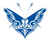Blue Tribal Butterfly — Stock Vector