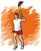 Athlete holding a torch — Vettoriale Stock