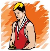 Athlete with medal and prize — Stock Vector