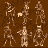 Skeletons - knight. — Stock Vector