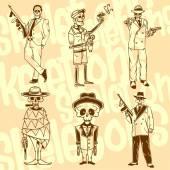 Skeletons - gangsters. — Stock Vector