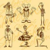 Skeletons - clowns. — Stock Vector