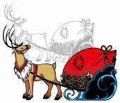 Reindeer and gifts — Stock Vector